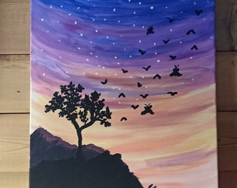 Original Acrylic Mountain Sunset Landscape Painting 16x20 inches Wall Art Tree Silhouette with Birds and Fairies