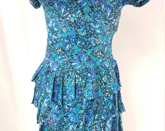 1980's Summer Dress - 3 Tiered- Blue Irises