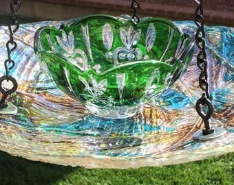 Hanging Multi Color Bird Feeder With Green Center Dish, Hanging Bird Feeders, Hanging Floral Art Gift, Retirement Gift for Women & Men