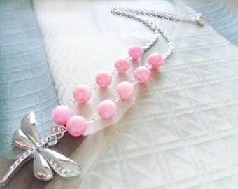 Rhodochrosite & Butterfly necklace, Silver chain necklace, Gemstone necklace
