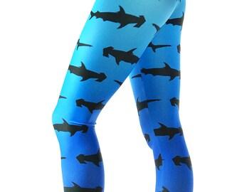 Shark Leggings - Blue Hammer Head Shark print Leggings - Fish Costume - Shark Costume - Surf Leggings - Fish legging - Kids Leggings