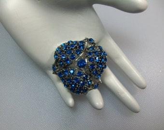 Vintage Silver Tone Capri Blue Rhinestone Pin Brooch