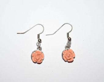 Peach Rose Earrings, Earrings, Rose Jewelry, Ear Jewelry, Roses, Peach Roses, Piercings