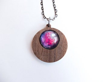 Universe Space Nebula  Round Drop Pendant Necklace