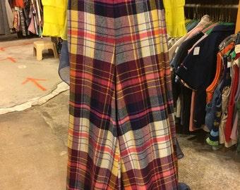 Vintage 1970s Plaid Bell-Bottom Pants