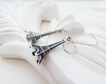 Silver Eiffel Tower Earrings | Silver Boho Earrings