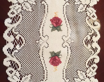Vintage Lace Runner with Roses