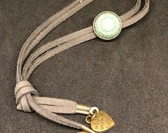 Gray Suede Adjustable Bracelet with Vintage Green Aztec Bead