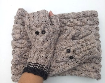 Sand Gray Cable Knit Cowl + Owl Fingerless Gloves set