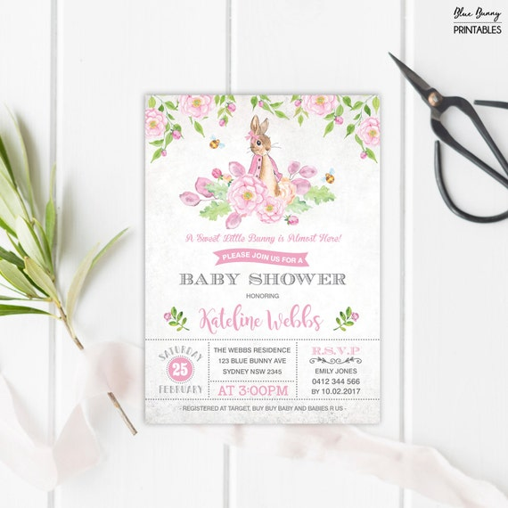 Rabbit Baby Shower Invitation Girl Bunny Baby Shower Invite Garden