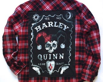 HARLEY QUINN Flannel (small) | women's flannel | one of a kind | vintage | grunge flannel | dc comics | Harley Quinn