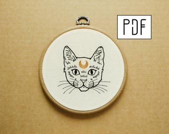 Crescent Moon Cat Hand Embroidery Pattern (PDF modern embroidery pattern)