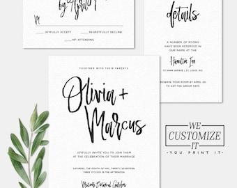 Calligraphy Script Printable Wedding Invitation • Personalized Invitation Digital File • Simple Modern Calligraphy Script Wedding Suite