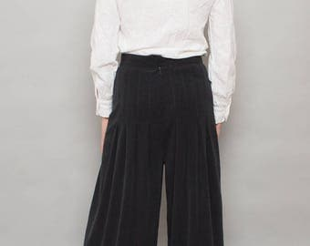70's Wide Leg Noir Bianca Pleated Palazzo Trousers