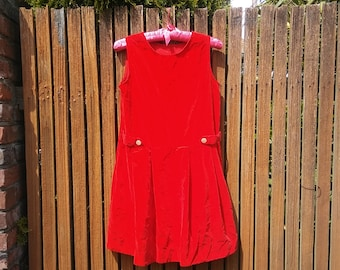 1950s 1960s red velveteen jumper dress // small