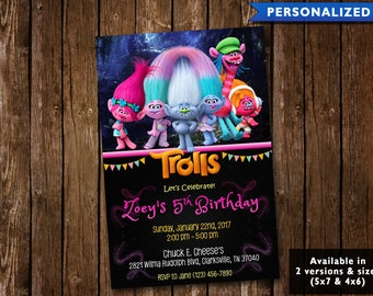 Trolls Birthday Invitation - Trolls Invitation - Trolls Birthday Invite (Digital File Download)