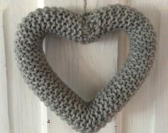 Knitted Heart Light Gray