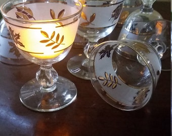 MCM Set of 8 Libbey Gold Leaf Frosted Sherbert Glasses. Candle Holders for Formal Dinners. Wedding Reception Centerpiece