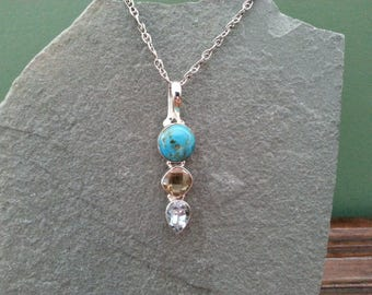 Vintage Turquoise, Citrine, and Blue Topaz in Sterling Silver Pendant and Sterling Silver 17 Inch Chain