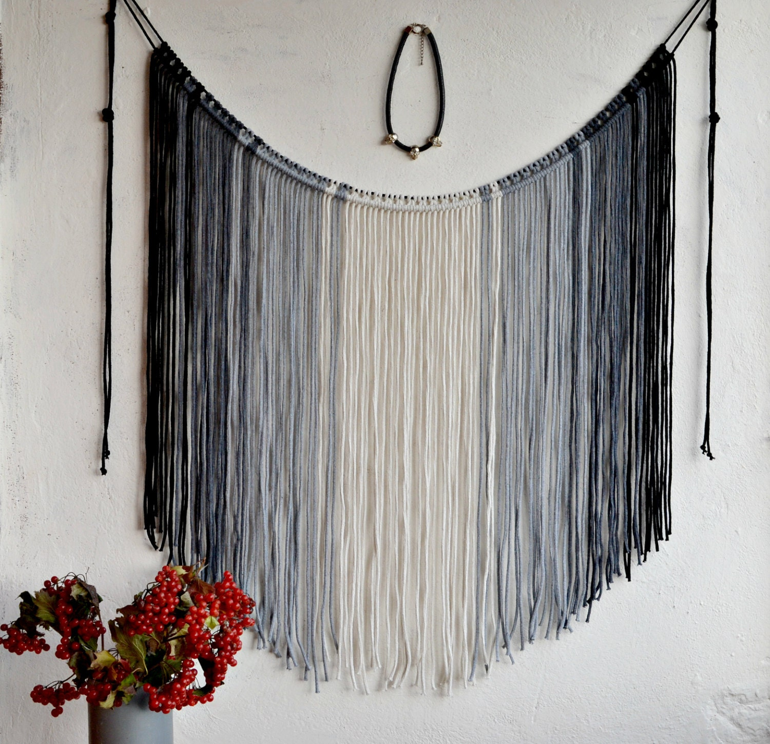 Macrame wall hanging ombre macrame curtain bohemian fiber for Wall hanging
