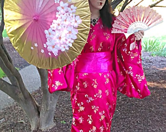 Hand Made Modern Double Layered Silky Rose Pink Kimono With Matching Wood Geta Shoes,Pink and Gold Fan,Sake Set/Sushi Plate