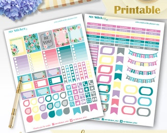 Watercolor planner stickers printable use with Erin Condren Life Planner™ sticker weekly set summer stickers beautiful functional stickers