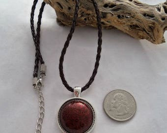 16 Inch Faux Leather Braided Necklace with Vintage Cabochon Pendant (1132)