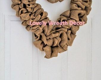 Valentines  wreath ,DIY Burlap wreath, Heart Wreath, Wedding Wreath, Love Wreath,  Wreath