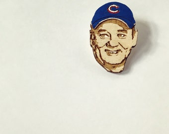 Bill Murray Chicago Cubs Fan Lapel Pin, World Series Commemorative Wood Hat Pin, Hand-Painted Wooden Brooch or Magnet