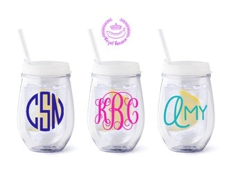 Personalized Stemless Acrylic Wine Tumbler {FROST}
