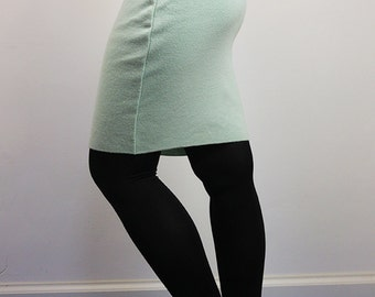 Vintage 90's Merinos Wool Knit Pencil Skirt Pastel Green