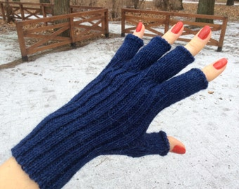 Alpaca gloves Half finger gloves Womens gloves navy blue gloves alpaca wool gloves fingerless gloves hand warmers Xmas gift womens gift