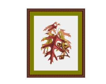 Acorns and Oak Leaves Cross Stitch Pattern, Instant Download Counted Cross Stitch Chart  (P-317)