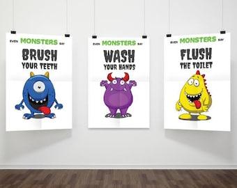 Kids bathroom print, Printable Kids bathroom print, Kids bathroom decor, nursery room art, Set of prints