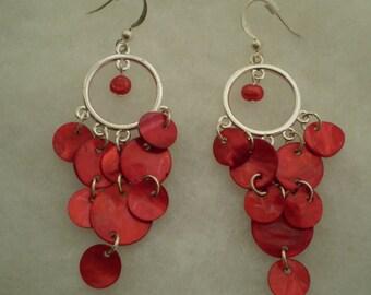 Fun Vintage Silvertone Pierced Earrings With Red Dangles