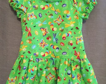 Smiling bugs dress. Girls size2