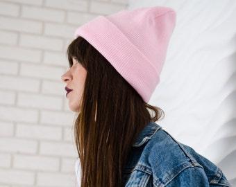 Pink beanie hat, hipster beanie hat, womens hat, spring fashion accessories, beanie hat