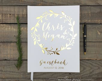 Real Gold foil wedding guest book, wedding guestbook, Personalized Modern, Silver Foil Copper Foil Rose gold foil, Custom Guest book, Rustic