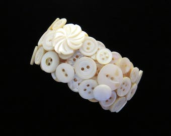 Antique and Vintage Button Cuff Bracelet Mother of Pearl Chunky with Swirl Off / White 7 Inch Gift BTG092S