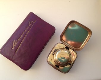 Rare beautiful matching Plum coloured inkwell and notebook