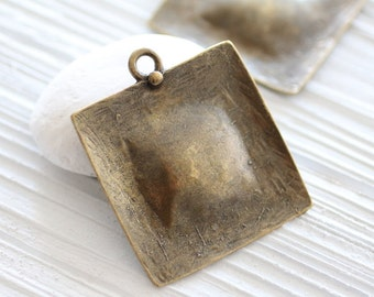 Antique gold square pendant, hammered pendant, antique metal pendant, large pendants, antique gold, boho findings, rustic, geometric pendant