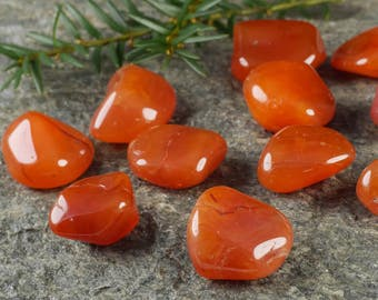 Two CARNELIAN Crystals Tumbled Stones - Healing Crystal, Carnelian Stones, Carnelian Jewelry, Carnelian Pendant, Carnelian Ring E0213