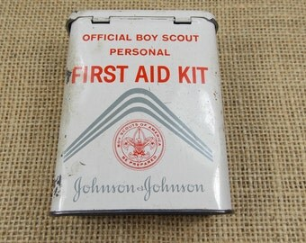Collectible Tin, Collectible Boy Scout First Aid Tin, Boy Scout Personal First Aid Kit, Johnson & Johnson Tin, Ready to Ship Under 10