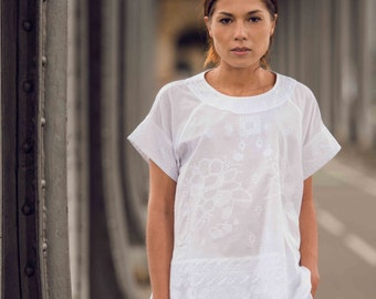 Tee 'LUCY' 100% cotton khadi embroidered, embroidery, for her, woman's clothing