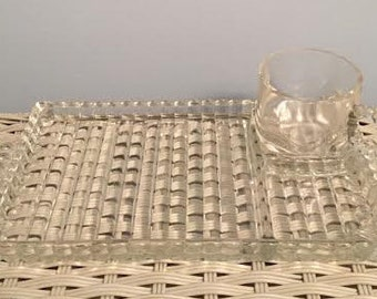 Set of 6 Anchor Hocking Candlewick Glass Snack Trays/Cups