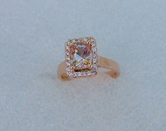 Morganite and diamond rose gold ring. 1.2 carat cushion cut Morganite and diamond ring. Morganite and diamond engagement ring