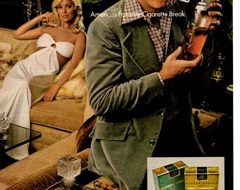 1974 Benson and Hedges original vintage magazine ad cigarette advertising humor wall decor office decor (1702)