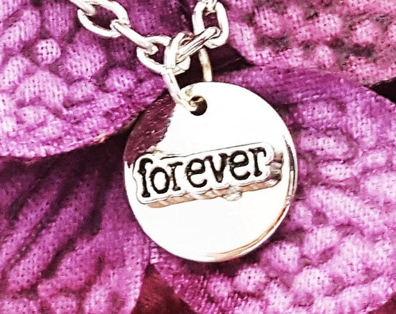 Forever Tiny Charm Necklace, LDS Jewelry, First Anniversary Gift, Wedding Engagement Gift, Gift for Wife, Together Forever, Small Word Charm