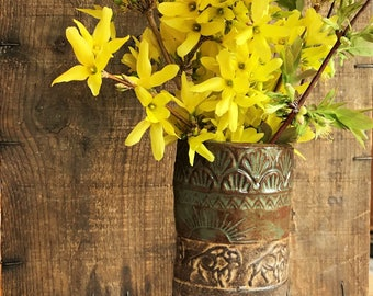 Rustic Wild Buffalo Flower Vase ~ Green and Brown ~ Native Southwestern ~ Handmade Vermont Pottery