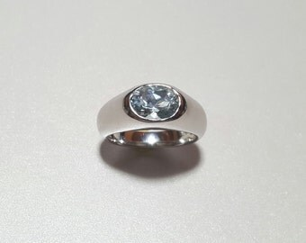 Aquamarine Silver Ring White Gold Plated. Natural Gemstone from Brazil